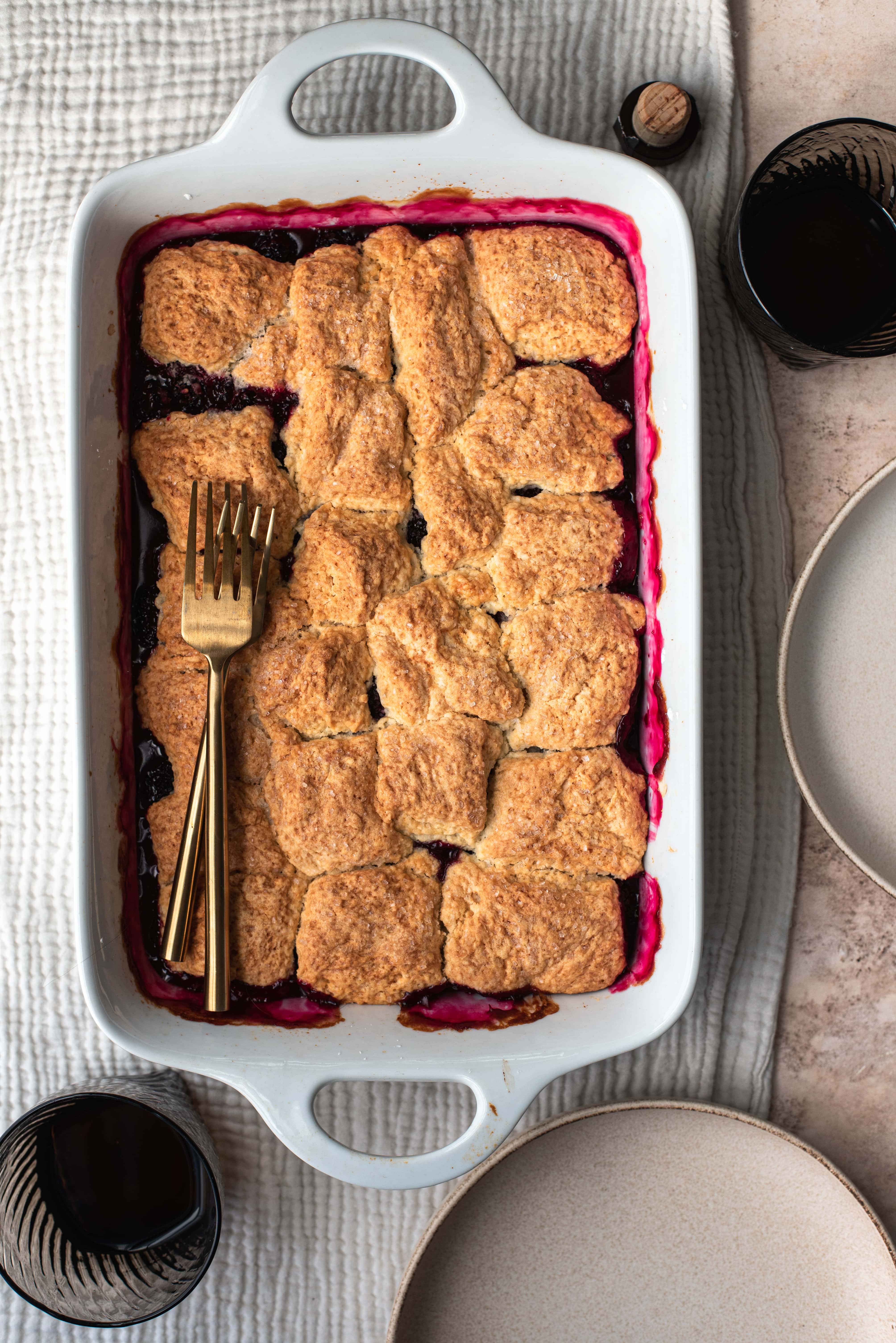 Bourbon Blackberry Cobbler right out of the oven