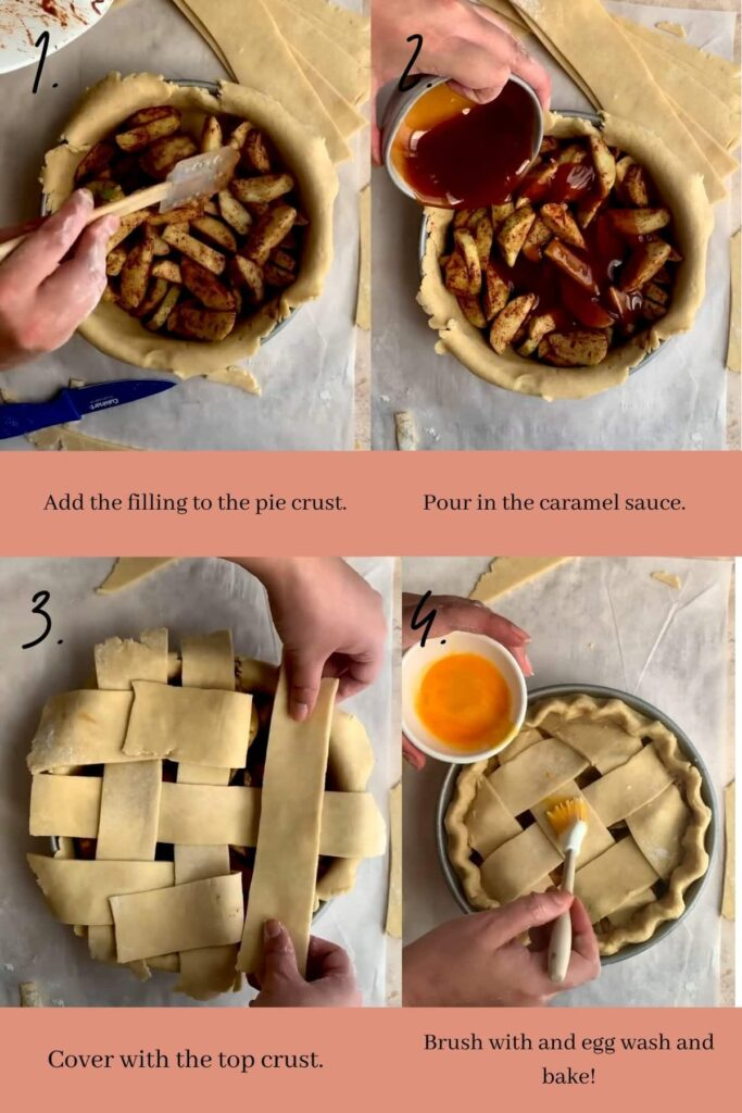 Collage on how to assemble caramel apple pie