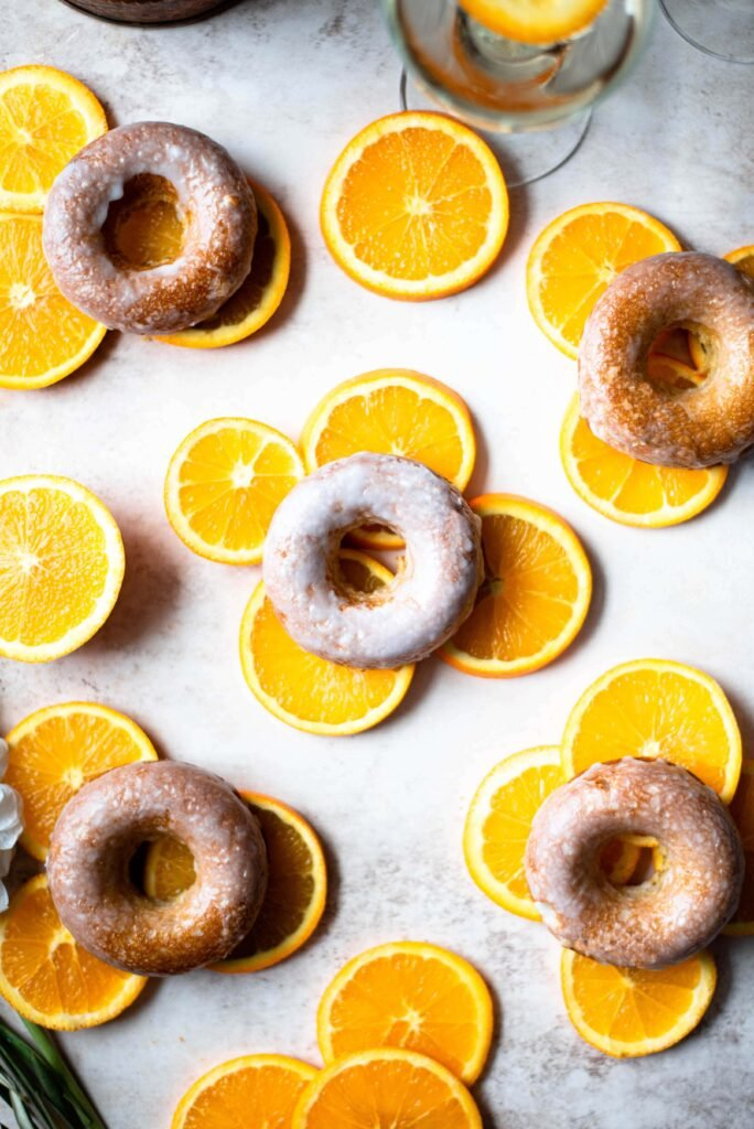 Orange and Cardamom Baked Donuts with Champagne Glaze