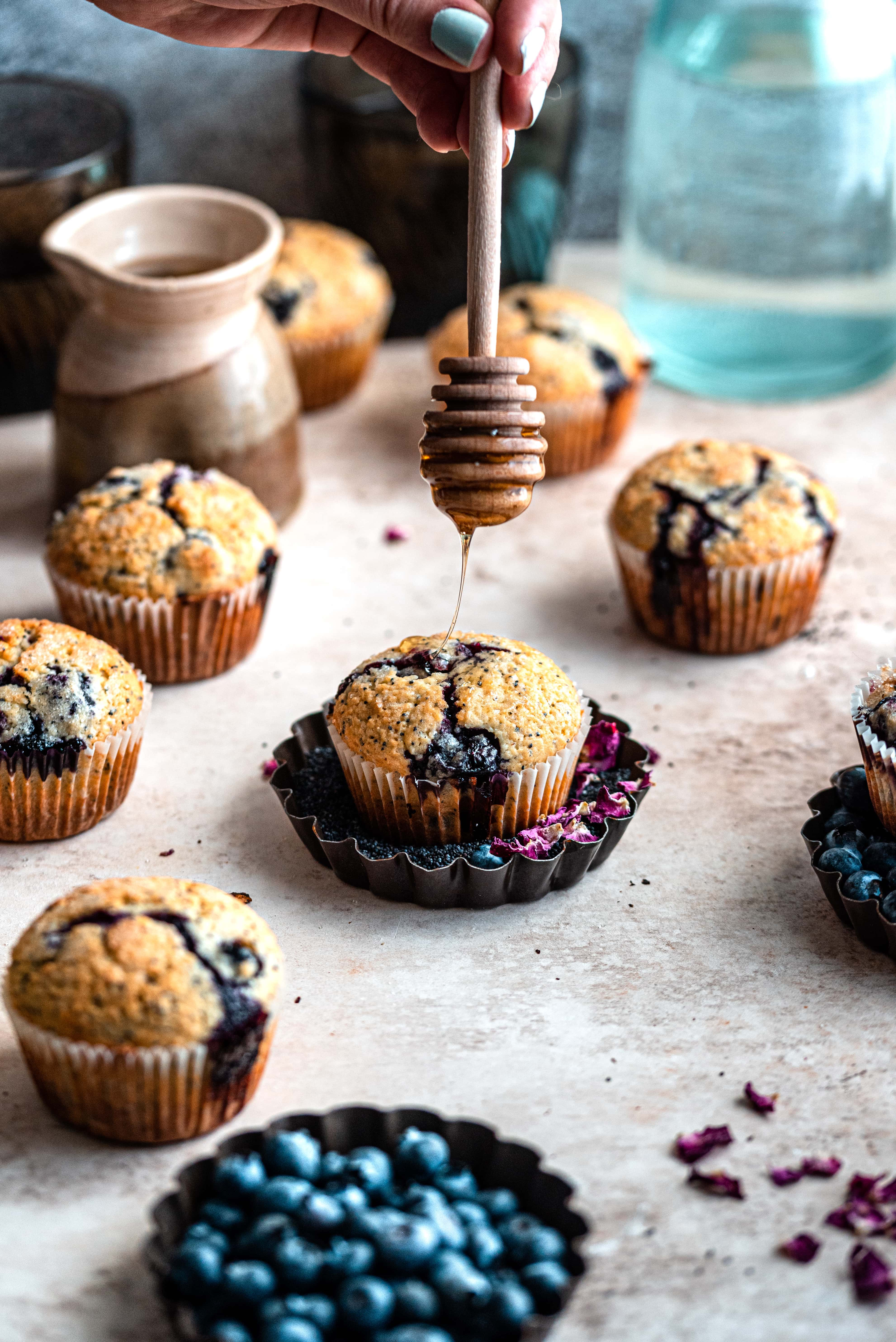Baked Blueberry Lemon Poppy Seed Muffins