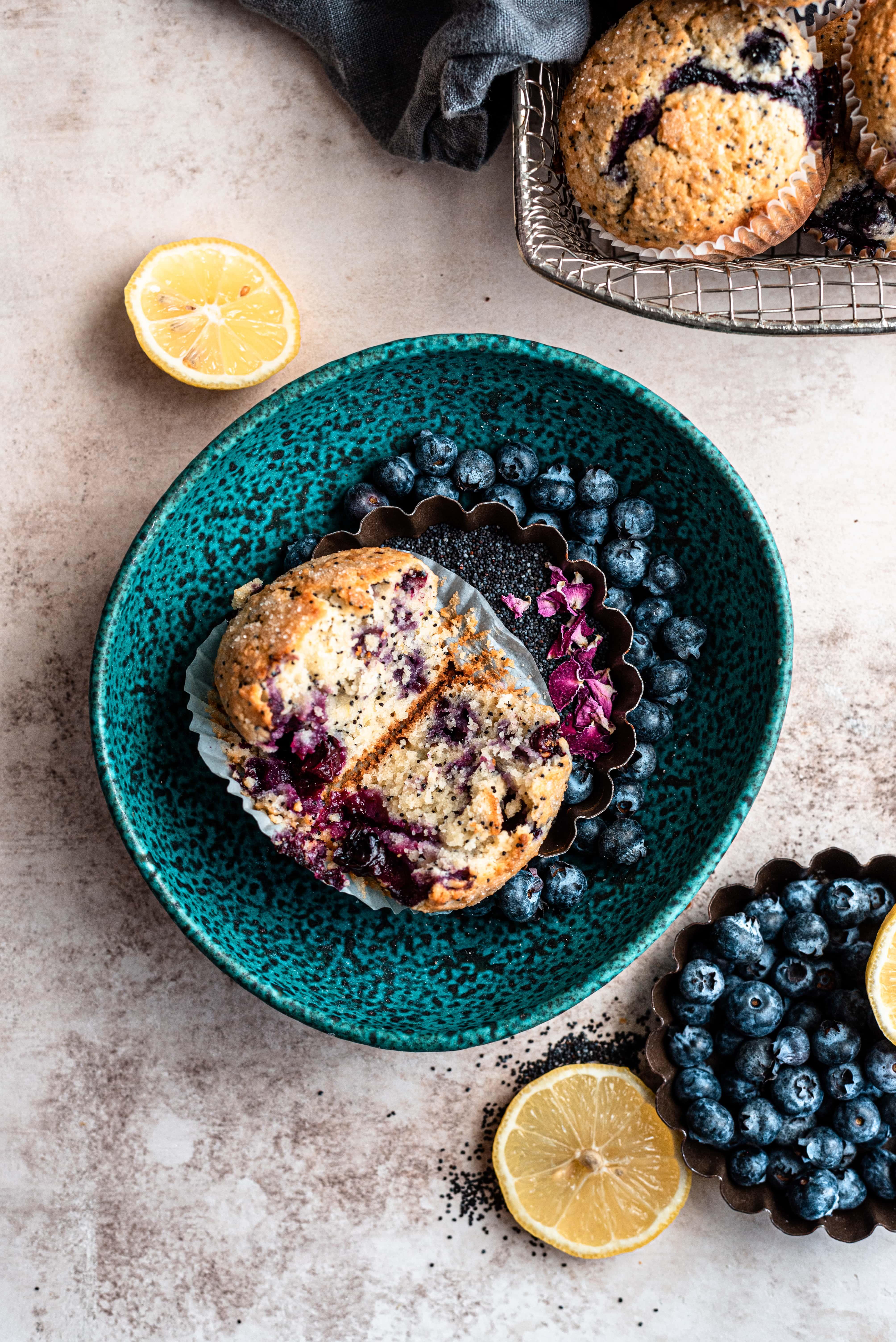 Blueberry lemon poppy seed muffin cut in half