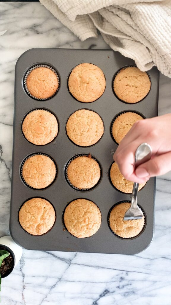 Poke holes in the cupcakes
