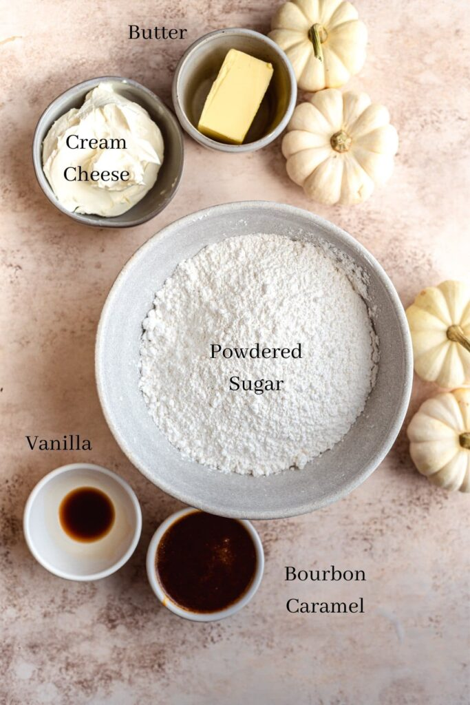 Frosting ingredients labeled on table.
