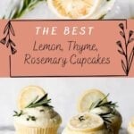 lemon cupcakes on a marble tray with lemon slices on top of the cupcakes