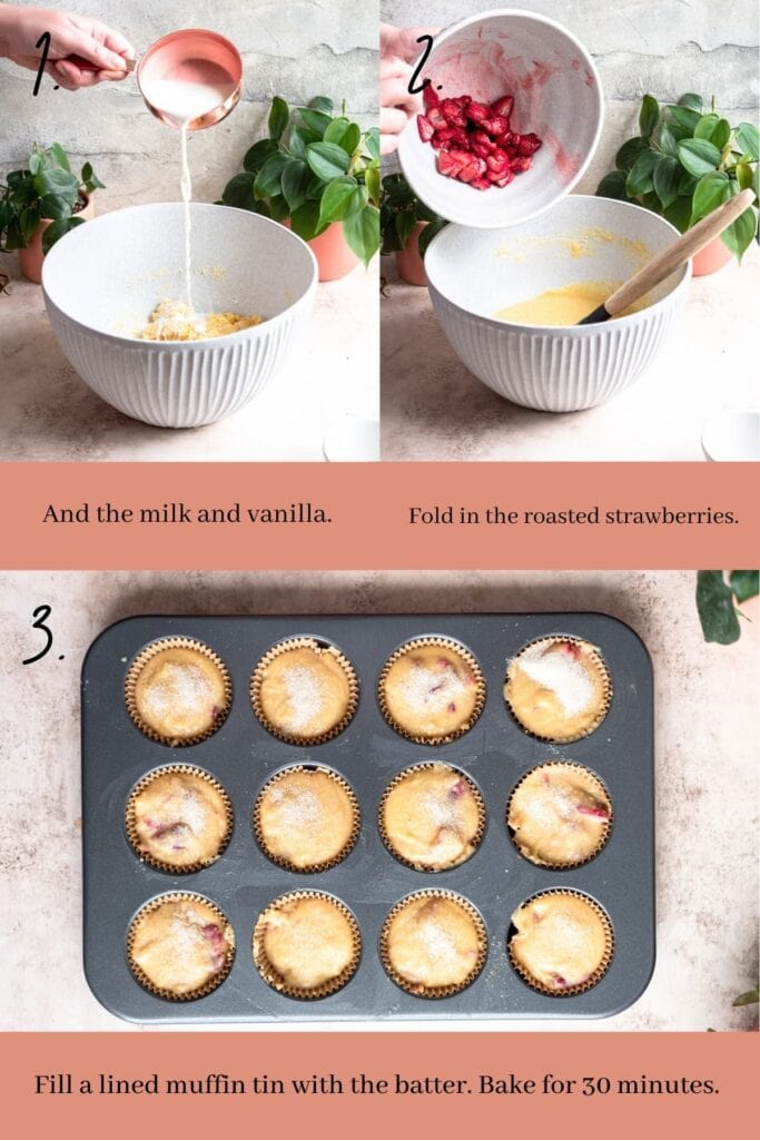 Process shot of mixing batter and filling the muffin tin