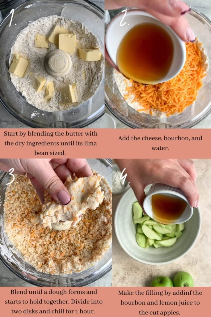 Collage of how to make cheddar crust