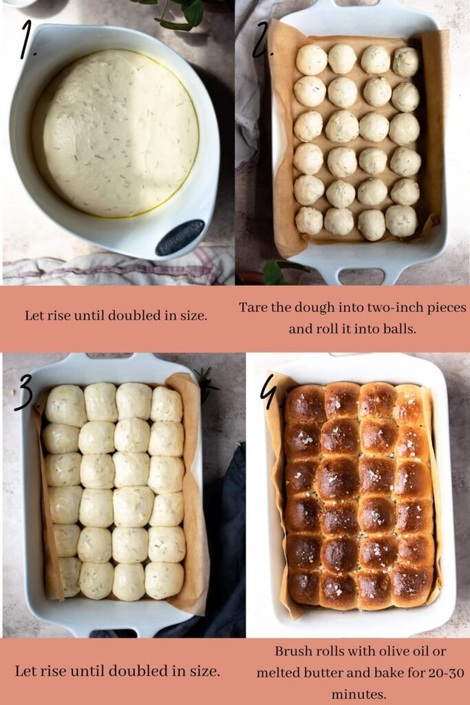 Collage of the next steps for rosemary dinner rolls